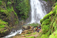 Trekkers at Mynapi Waterfalls in Goa Stock Image