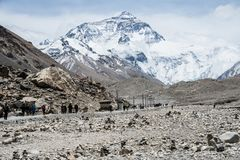 Trekkers na cara norte do acampamento base de Monte Everest foto de stock royalty free