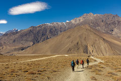Trekkers in Nepal Royalty Free Stock Photo