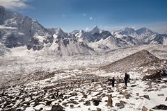 Trekkers at the pass, Nepal Royalty Free Stock Photo