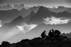 Trekkers relaxing at Shira campsite, Kilimanjaro Stock Images