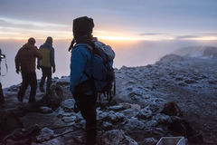 Trekkers on the top of. Kilimanjaro, Tanzania - January 20, 2016: Trekkers on the top of Kilimanjaro on January 20, 2016 in Kilimanjaro, Tanzania Stock Images