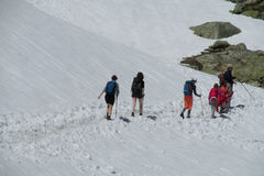 Trekkers walking on a hike to the snow mountains. Trekkers with a backpacks, family with children walking on a hike to the snow mountains stock photo