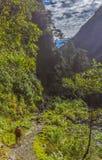Trekkers wycieczkowiczy wąwóz Qusilluyoc Cuzco Peru obrazy royalty free