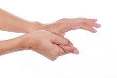 Trekkervinger Vrouwen pijnlijke duim Stock Afbeeldingen