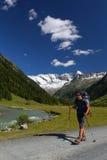 Trekkin in  mountain valley Stock Photos