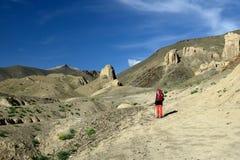 Trekking в горах Karakorum около города Leh стоковые изображения rf