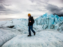 Trekking на леднике Matanuska, Аляска Стоковые Фотографии RF
