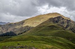 Trekking от Али Bugyal к Bedni Bugyal Стоковая Фотография RF