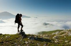 Trekking. In Caucasus mountains Georgia, Svaneti region Royalty Free Stock Image