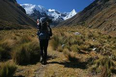 Trekking. Hiking in the Cordillera Blanca, Andes, Peru Royalty Free Stock Image
