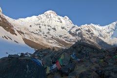 Trekking aan Annapurna-basiskamp royalty-vrije stock fotografie