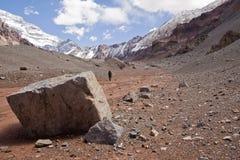 Trekking aan Nationaal Park Aconcagua Stock Foto's
