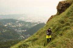 Trekking above Taipei royalty free stock photography