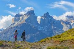 Trekking Adventure in Patagonia, Chile stock image