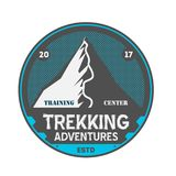 Trekking adventures vintage isolated badge. Summer camp symbol, mountain explorer, touristic camping label, wildlife expedition illustration Royalty Free Stock Photography