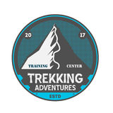 Trekking adventures vintage isolated badge. Summer camp symbol, mountain explorer, touristic camping label, wildlife expedition vector illustration Royalty Free Stock Images
