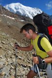 Trekking in alps mountains Stock Photo