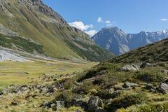 Trekking in Alps summer vacation stock photos