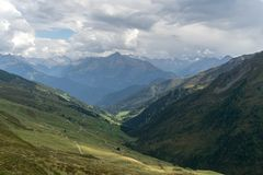Trekking in Alps summer vacation royalty free stock photography