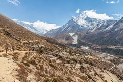 Trekking at Ama Dablam Royalty Free Stock Photos