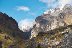 Trekking in the Andes. Trekking below Churup in the Andes, Cojup Valley in Peru, South America Stock Photography