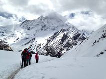 Trekking Annapurna Mountain at   pokhara nepal Royalty Free Stock Images