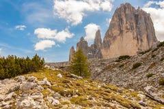 Trekking around the Three Peaks, Italian Alps Stock Photos