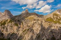 Trekking around the Three Peaks, Italian Alps Stock Image