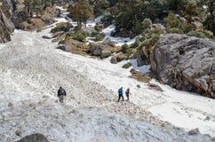 Trekking auf Schnee-Bergen durch Gruppe von Personen Stockbilder