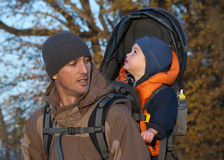 Trekking with a baby Stock Images