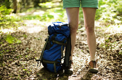 Trekking backpack Stock Photo
