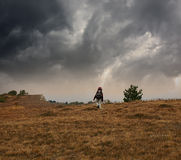 Trekking in bad weather Royalty Free Stock Photography