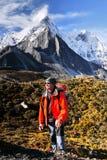 Trekking in Bergen, Himalayagebergte Nepal Stock Foto's