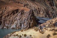 Trekking with bicycle Stock Photo