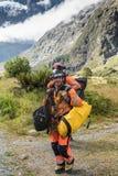 Trekking caduto dei ricercatori del parco di governo attraverso la regione selvaggia, Immagini Stock Libere da Diritti