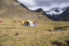 Trekking camp on flat dry river pastures Royalty Free Stock Photos