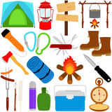 Trekking and Camping vector icons Royalty Free Stock Photo
