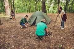 Trekking, camping and wild life concept. Photo of four best friends, setting the camp in the woods near canyon, all are excited stock photo
