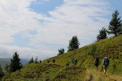 Trekking in the Carpathians mountains Stock Image