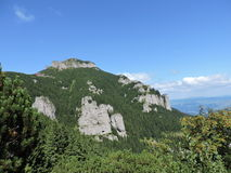 Trekking in Ceahlau Mountains. Toaca Peak, rock, forest and sky Royalty Free Stock Image