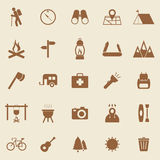 Trekking color icons on brown background Stock Images