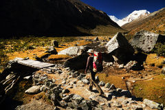 Trekking in Cordiliera Huayhuash Royalty Free Stock Images
