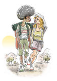 Trekking couple Stock Photo