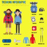 Trekking couple infographic with backpack,camera,compass,sleepin Royalty Free Stock Photo