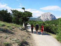 Trekking in the Crimea. People in hike royalty free stock images