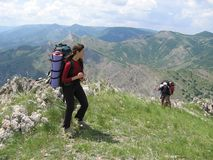 Trekking on the Crimea in summer. Climbers on the Crimea mountains Stock Photography