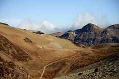 Trekking. Curvy trail, trekking in mountain, teide national park stock image