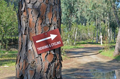 Trekking and cycling route sign Stock Photos