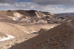 Trekking dans le désert en pierre dramatique de Negev, Israël Images stock